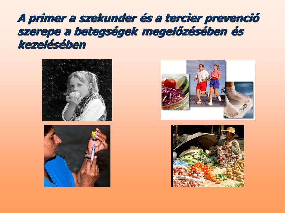Primer prevenció = a betegség kialakulásának megakadályozása, a kiváltó tényezők és rizikófaktorok figyelemmel kísérése, csökkentése vagy felszámolása (védőoltások, munkahelyi és élelmiszer-higiénés szabályok betárása, egészségfejlesztés) 1.