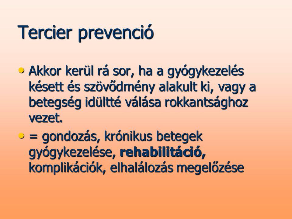 Tercier prevenció Akkor kerül rá sor, ha a gyógykezelés késett és szövődmény alakult ki, vagy a betegség idültté válása rokkantsághoz vezet.