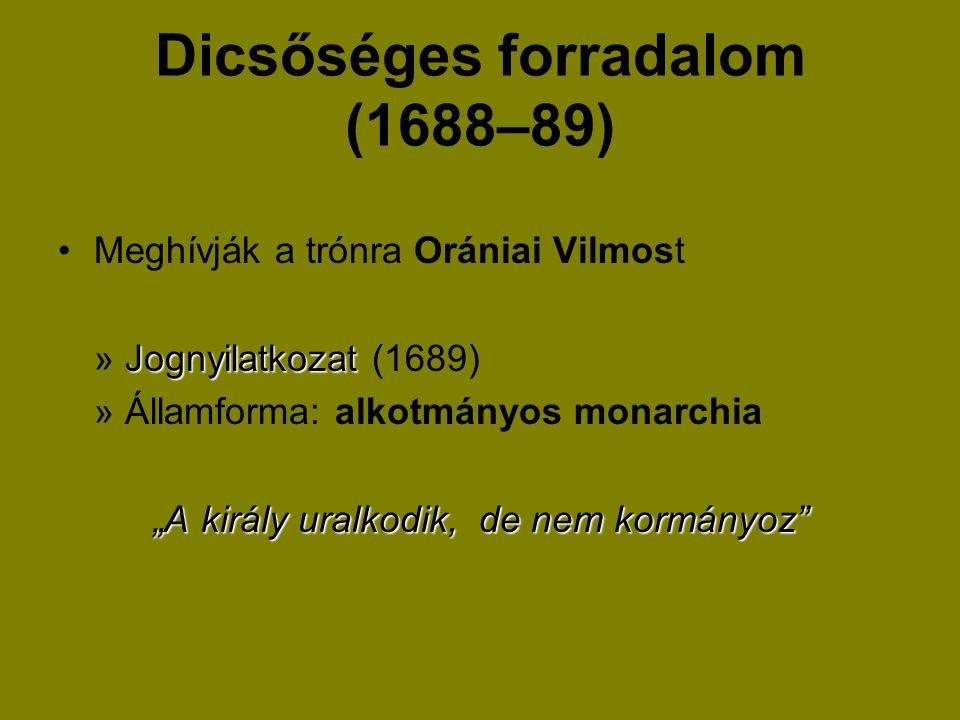 """Dicsőséges forradalom (1688–89) Meghívják a trónra Orániai Vilmost Jognyilatkozat » Jognyilatkozat (1689) » Államforma: alkotmányos monarchia """"A királ"""