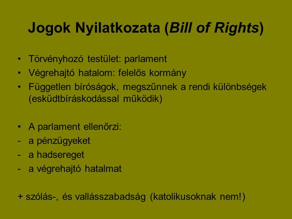 Jogok Nyilatkozata (Bill of Rights) Törvényhozó testület: parlament Végrehajtó hatalom: felelős kormány Független bíróságok, megszűnnek a rendi különb