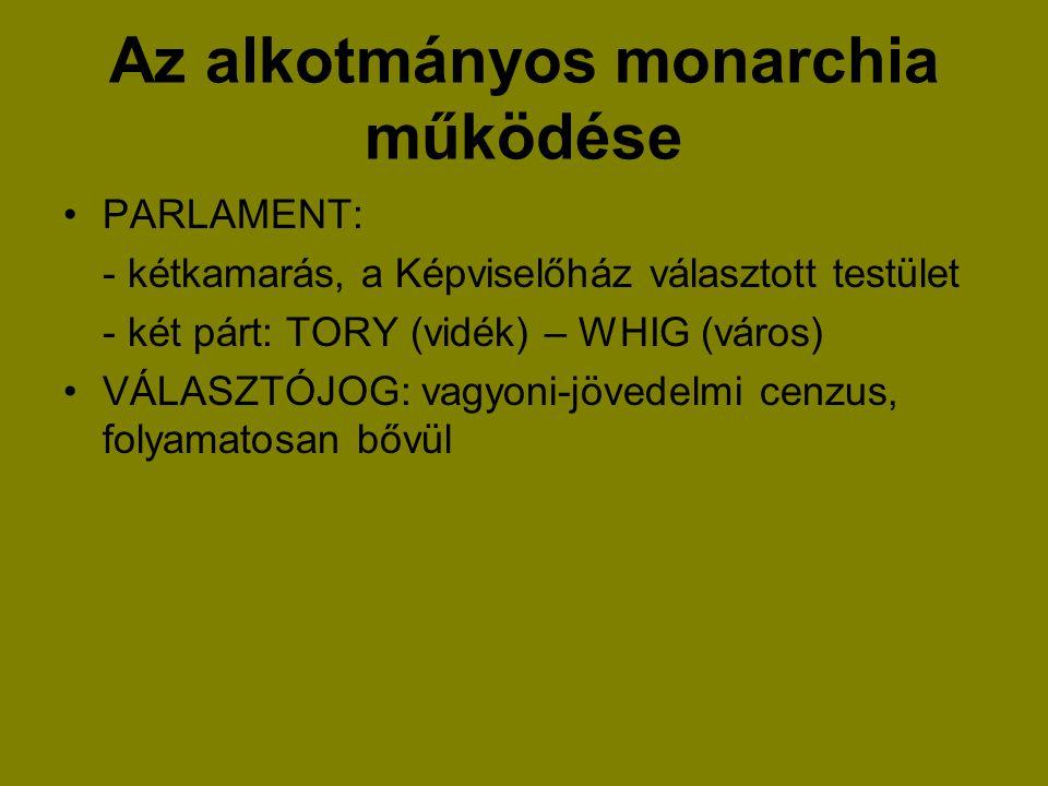 Az alkotmányos monarchia működése PARLAMENT: - kétkamarás, a Képviselőház választott testület - két párt: TORY (vidék) – WHIG (város) VÁLASZTÓJOG: vag