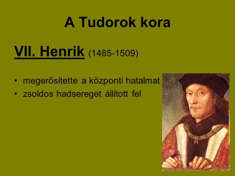 A Tudorok kora VII. Henrik (1485-1509) megerősítette a központi hatalmat zsoldos hadsereget állított fel