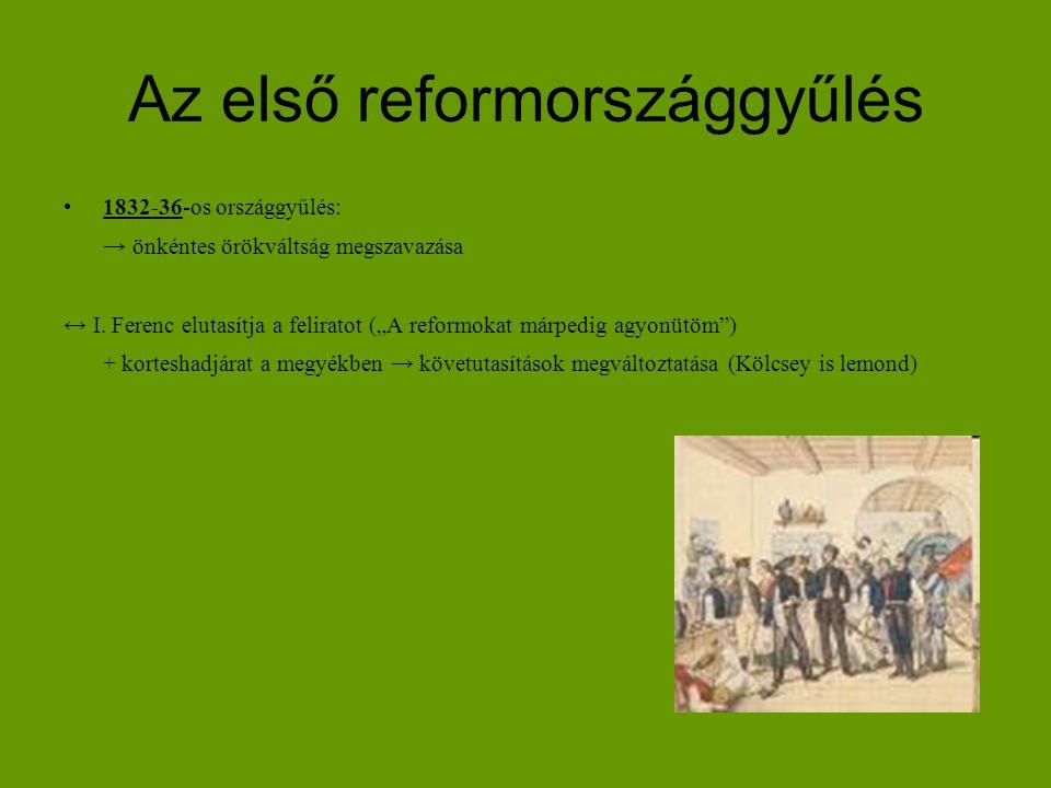 """Az első reformországgyűlés 1832-36-os országgyűlés: → önkéntes örökváltság megszavazása ↔ I. Ferenc elutasítja a feliratot (""""A reformokat márpedig agy"""