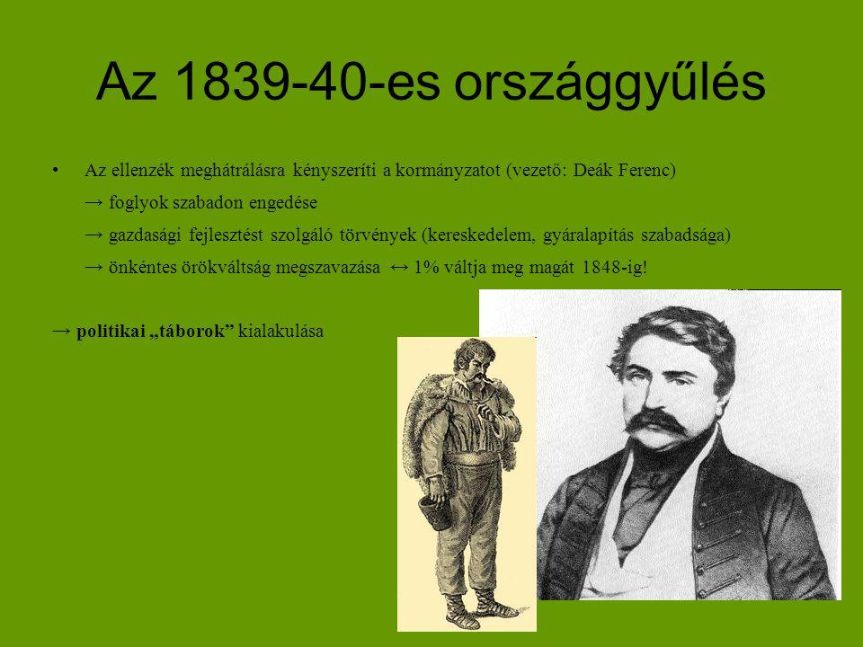 Az 1839-40-es országgyűlés Az ellenzék meghátrálásra kényszeríti a kormányzatot (vezető: Deák Ferenc) → foglyok szabadon engedése → gazdasági fejleszt