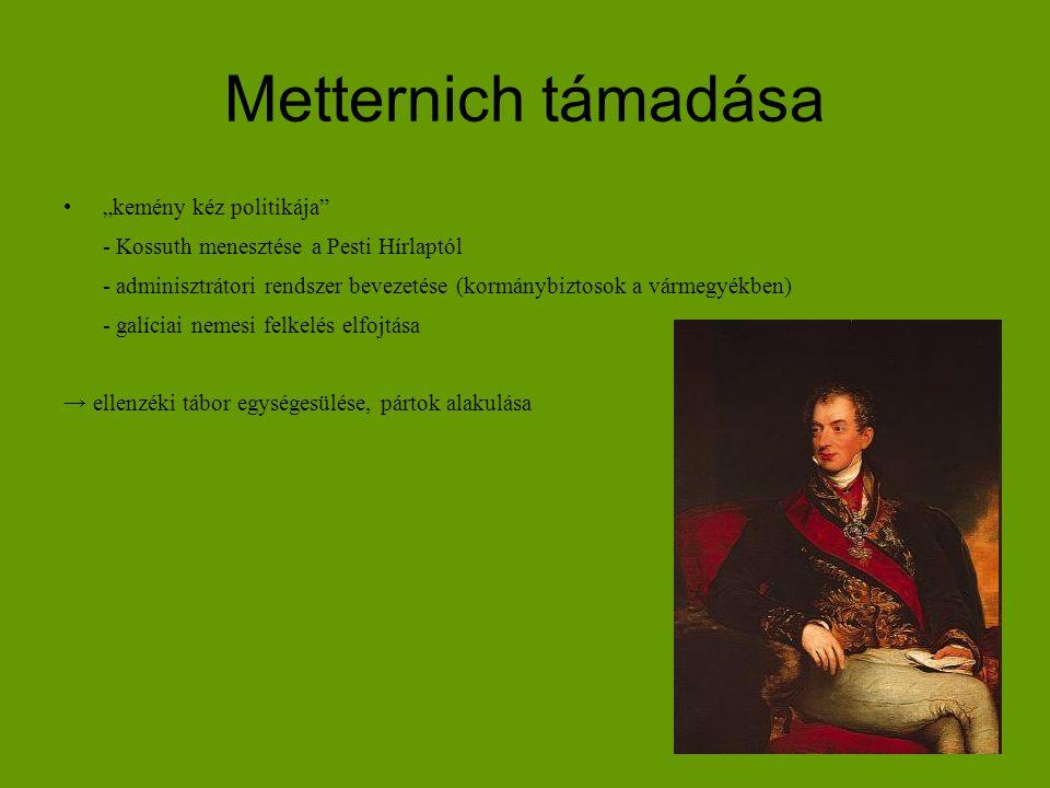 """Metternich támadása """"kemény kéz politikája"""" - Kossuth menesztése a Pesti Hírlaptól - adminisztrátori rendszer bevezetése (kormánybiztosok a vármegyékb"""
