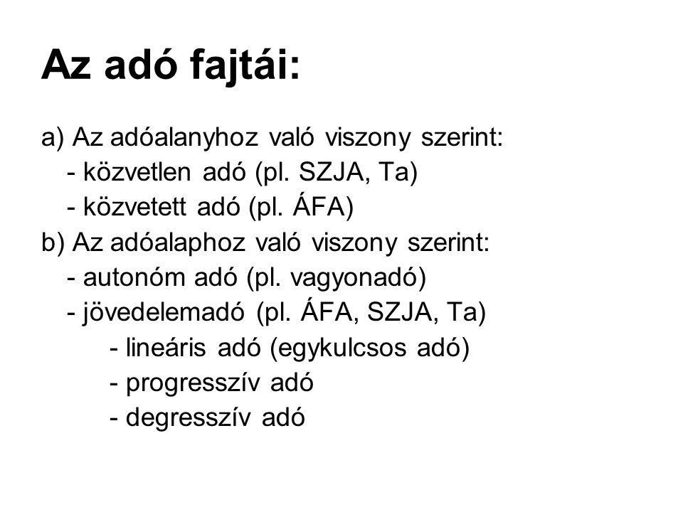 Az adó fajtái: a) Az adóalanyhoz való viszony szerint: - közvetlen adó (pl. SZJA, Ta) - közvetett adó (pl. ÁFA) b) Az adóalaphoz való viszony szerint:
