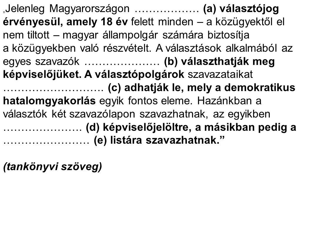 """"""" Jelenleg Magyarországon ……………… (a) választójog érvényesül, amely 18 év felett minden – a közügyektől el nem tiltott – magyar állampolgár számára biz"""