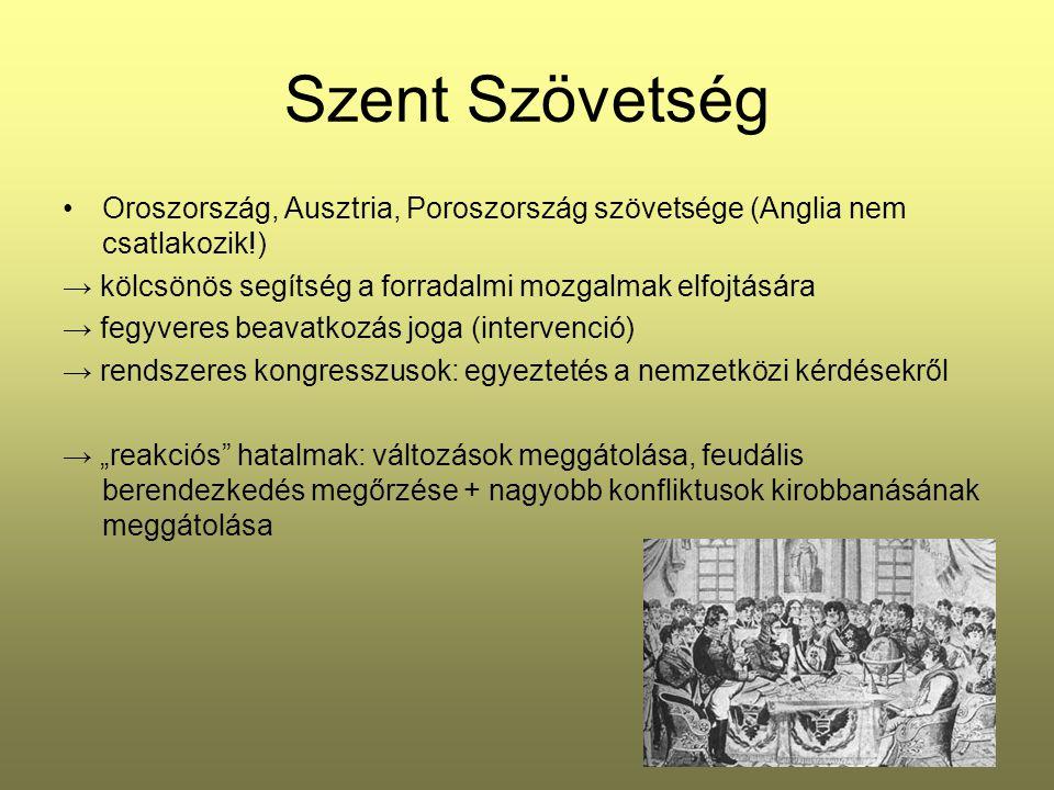 Szent Szövetség Oroszország, Ausztria, Poroszország szövetsége (Anglia nem csatlakozik!) → kölcsönös segítség a forradalmi mozgalmak elfojtására → feg