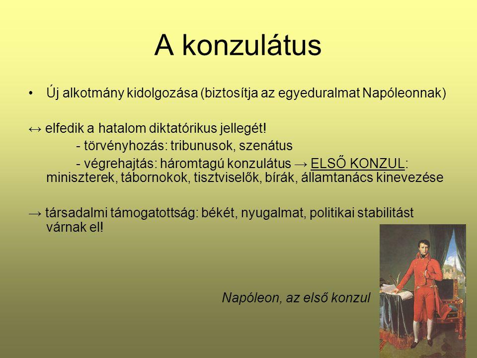 A konzulátus Új alkotmány kidolgozása (biztosítja az egyeduralmat Napóleonnak) ↔ elfedik a hatalom diktatórikus jellegét! - törvényhozás: tribunusok,