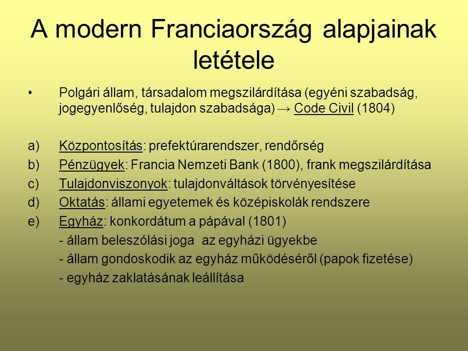 A modern Franciaország alapjainak letétele Polgári állam, társadalom megszilárdítása (egyéni szabadság, jogegyenlőség, tulajdon szabadsága) → Code Civ