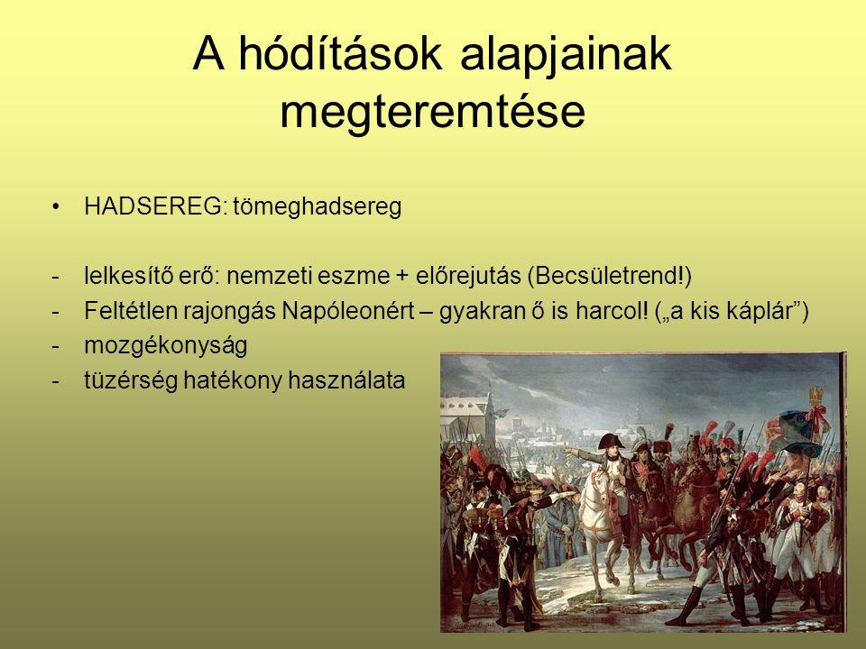 A hódítások alapjainak megteremtése HADSEREG: tömeghadsereg -lelkesítő erő: nemzeti eszme + előrejutás (Becsületrend!) -Feltétlen rajongás Napóleonért