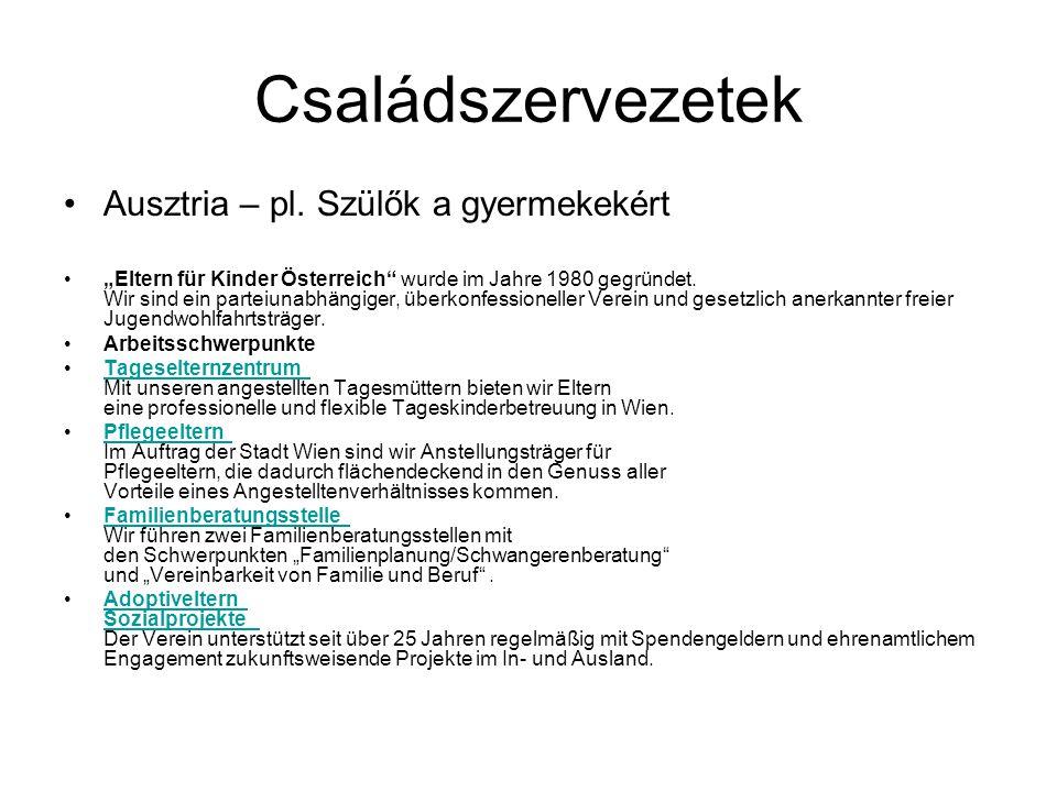 Családszervezetek Ausztria – pl.