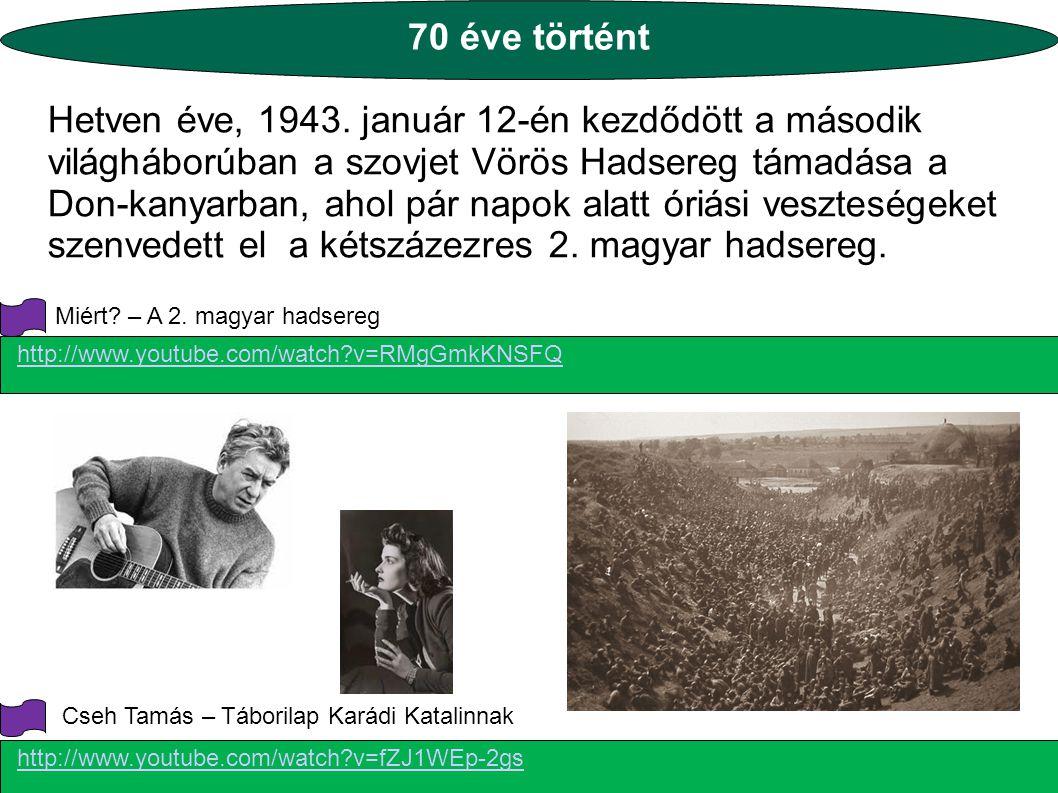 70 éve történt Hetven éve, 1943. január 12-én kezdődött a második világháborúban a szovjet Vörös Hadsereg támadása a Don-kanyarban, ahol pár napok ala