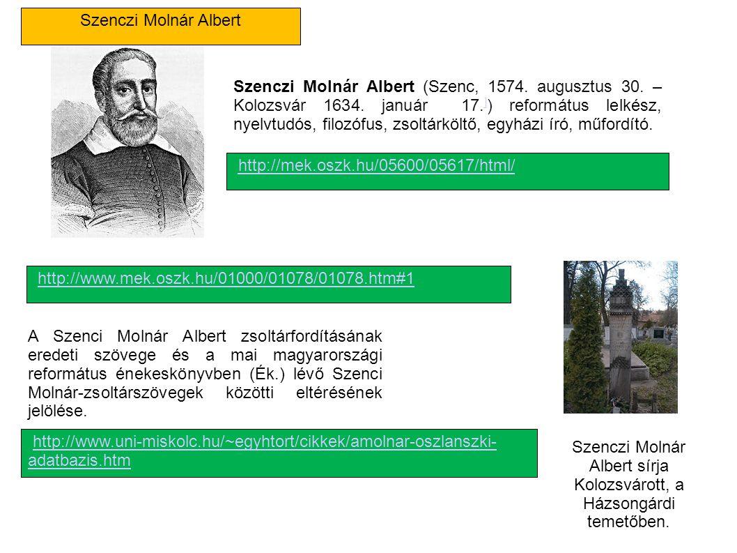 Szenczi Molnár Albert Szenczi Molnár Albert (Szenc, 1574. augusztus 30. – Kolozsvár 1634. január 17. ] ) református lelkész, nyelvtudós, filozófus, zs