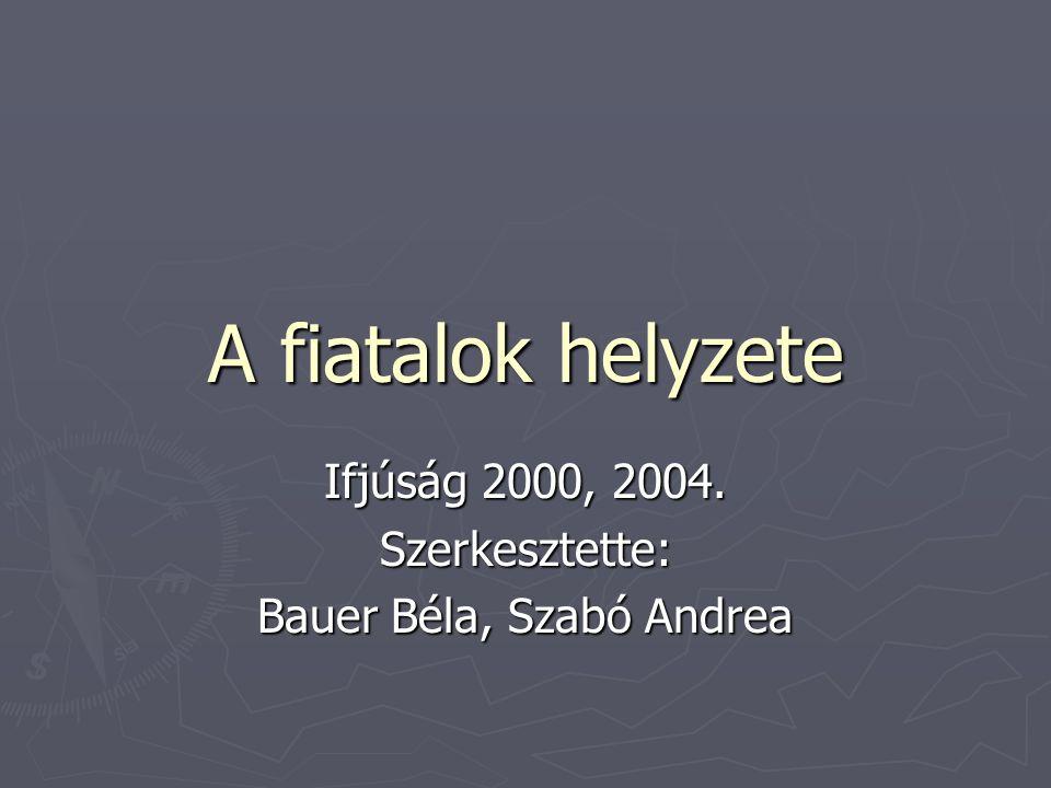 A fiatalok helyzete Ifjúság 2000, 2004. Szerkesztette: Bauer Béla, Szabó Andrea