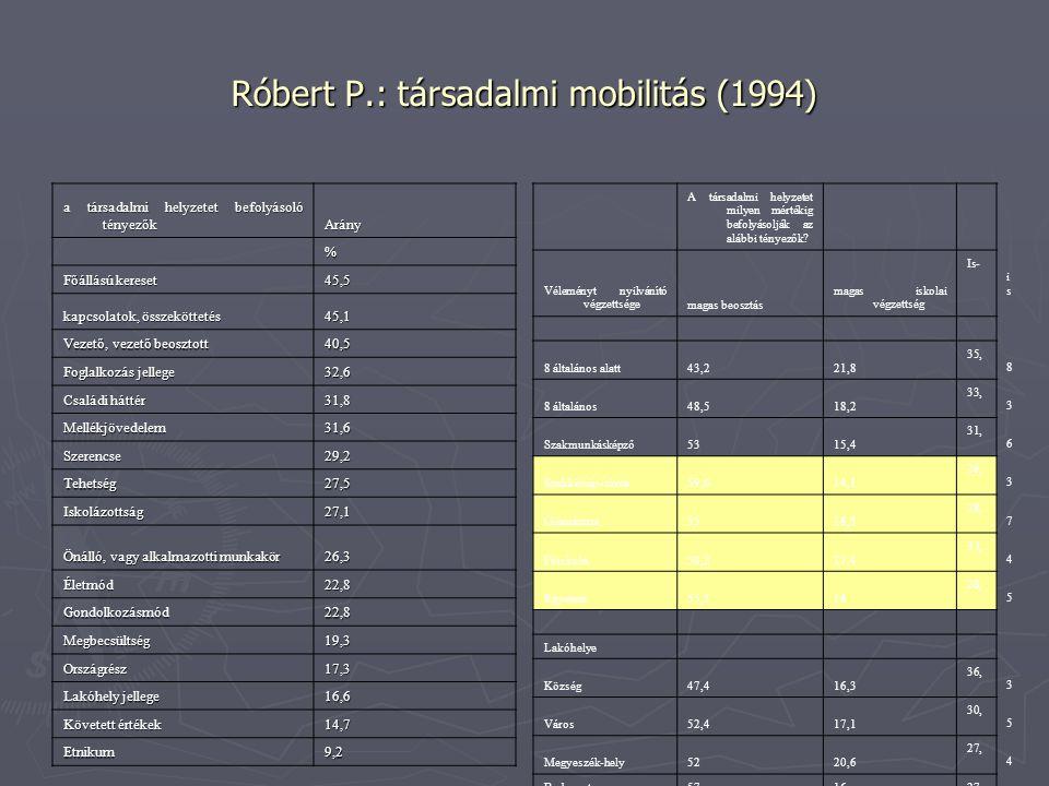 Róbert P.: társadalmi mobilitás (1994) a társadalmi helyzetet befolyásoló tényezők Arány % Főállású kereset 45,5 kapcsolatok, összeköttetés 45,1 Vezet