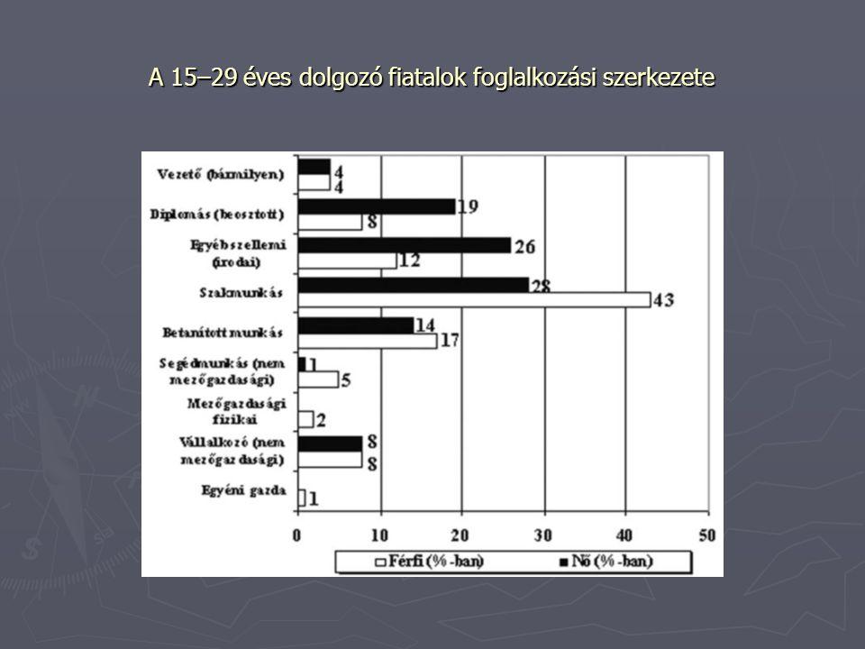 A 15–29 éves dolgozó fiatalok foglalkozási szerkezete