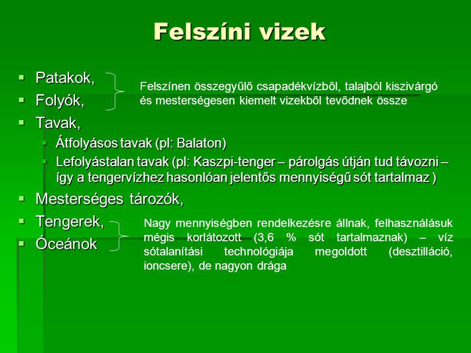 Felszíni vizek  Patakok,  Folyók,  Tavak,  Átfolyásos tavak (pl: Balaton)  Lefolyástalan tavak (pl: Kaszpi-tenger – párolgás útján tud távozni –