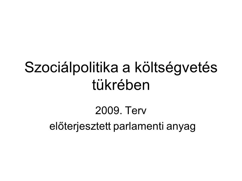 Szociálpolitika a költségvetés tükrében 2009. Terv előterjesztett parlamenti anyag