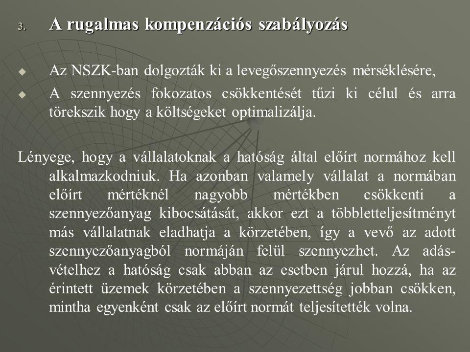 3. A rugalmas kompenzációs szabályozás   Az NSZK-ban dolgozták ki a levegőszennyezés mérséklésére,   A szennyezés fokozatos csökkentését tűzi ki c