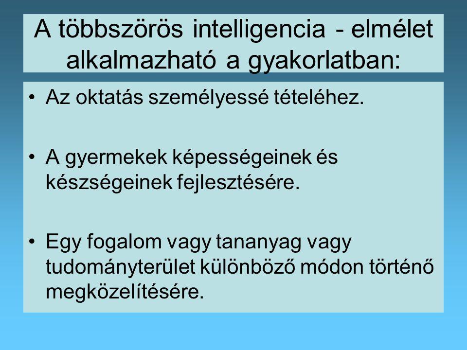 A többszörös intelligencia - elmélet alkalmazható a gyakorlatban: Az oktatás személyessé tételéhez.