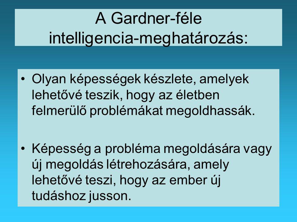 A Gardner-féle intelligencia-meghatározás: Olyan képességek készlete, amelyek lehetővé teszik, hogy az életben felmerülő problémákat megoldhassák.