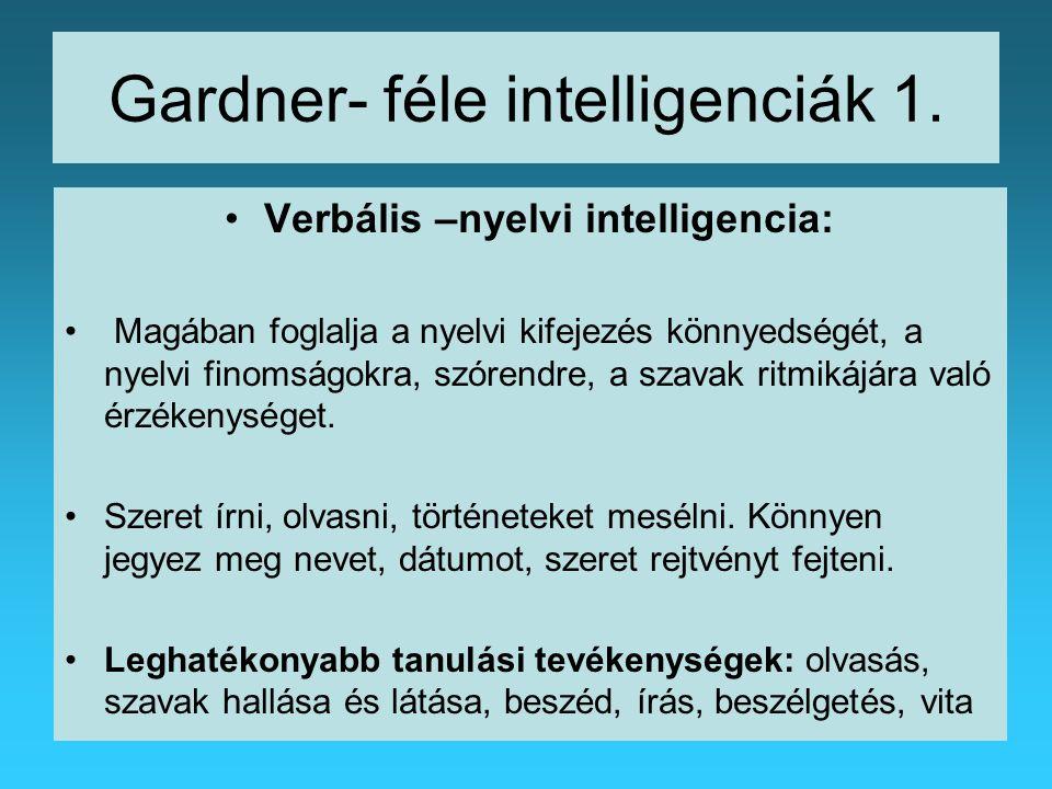 Gardner- féle intelligenciák 1.