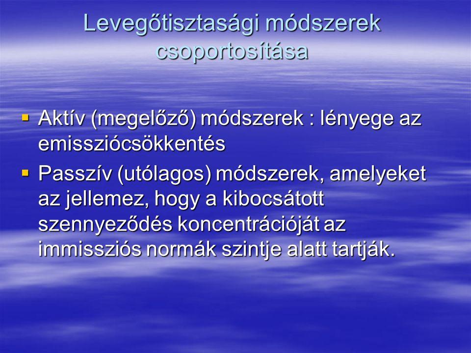 Levegőtisztasági módszerek csoportosítása  Aktív (megelőző) módszerek : lényege az emissziócsökkentés  Passzív (utólagos) módszerek, amelyeket az jellemez, hogy a kibocsátott szennyeződés koncentrációját az immissziós normák szintje alatt tartják.