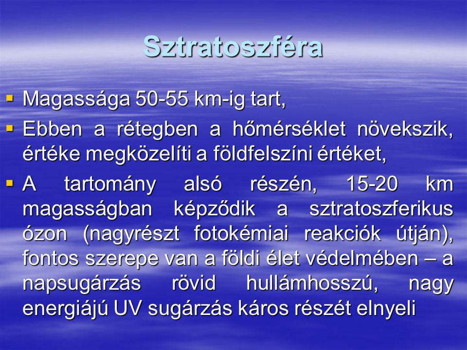 Helyi légszennyező anyagok hatásai Egészségkárosító hatás 1.CO: oxigén szállítást akadályozza – fulladásos halál 2.SO 2 : erős nyálkahártya izgató, szúrós szagú, zavarja a fehérje- anyagcserét 3.NO 2 : roncsolja a tüdőszöveteket, szem, légutak nyálkahártyáját izgatja 4.CH: kipufogógázokból – rákkeltő hatásúak 5.Klór, ammónia, hidrogén-fluorid – mérgező, roncsoló hatású 6.Por, korom, pernye – szilikózis 7.Szálló por – növényzet, állatvilág károsodása Gazdasági károkozó hatás 1.Mezőgazdasági károk – növény és állatvilág pusztulása 2.Termőtalajok elsavanyodása (Nyugat Európában fenyőerdők kipusztulása, hazánkban kocsánytalan tölgyek pusztulása) 3.Anyagi javak károsodása – korrózió, műanyagok öregedési folyamatainak felgyorsulása, gumi töredezése, épületek vakolata porlad, állaguk romlik, szabadban lévő művészeti alkotások pusztulásának felgyorsulása