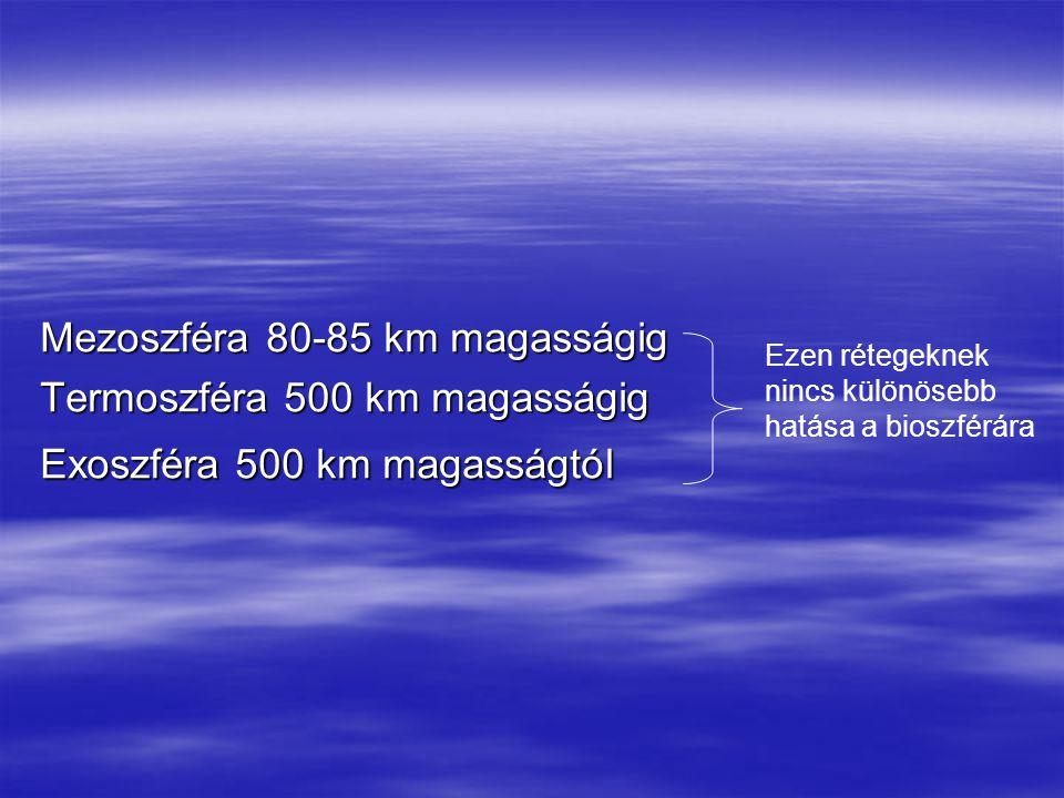 Mezoszféra 80-85 km magasságig Termoszféra 500 km magasságig Exoszféra 500 km magasságtól Ezen rétegeknek nincs különösebb hatása a bioszférára
