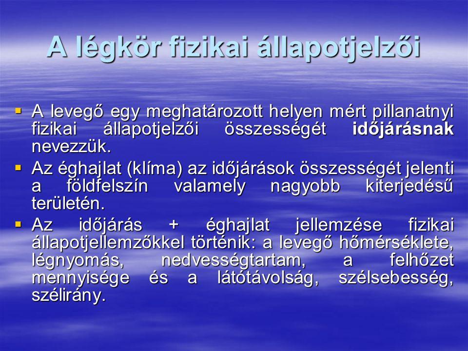 A légkör fizikai állapotjelzői  A levegő egy meghatározott helyen mért pillanatnyi fizikai állapotjelzői összességét időjárásnak nevezzük.