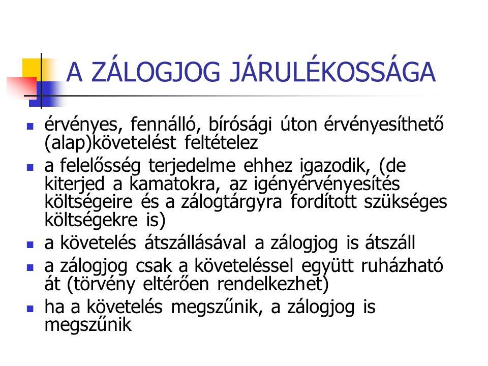 JELZÁLOGJOG INGÓ DOLGON Ha jogszabály eltérően nem rendelkezik a zálogszerződés közjegyzői okiratba foglalása és a jelzálogjognak a Magyar Országos Közjegyzői Kamaránál vezetett nyilvántartásba (zálogjogi nyilvántartás) való bejegyzése szükséges.