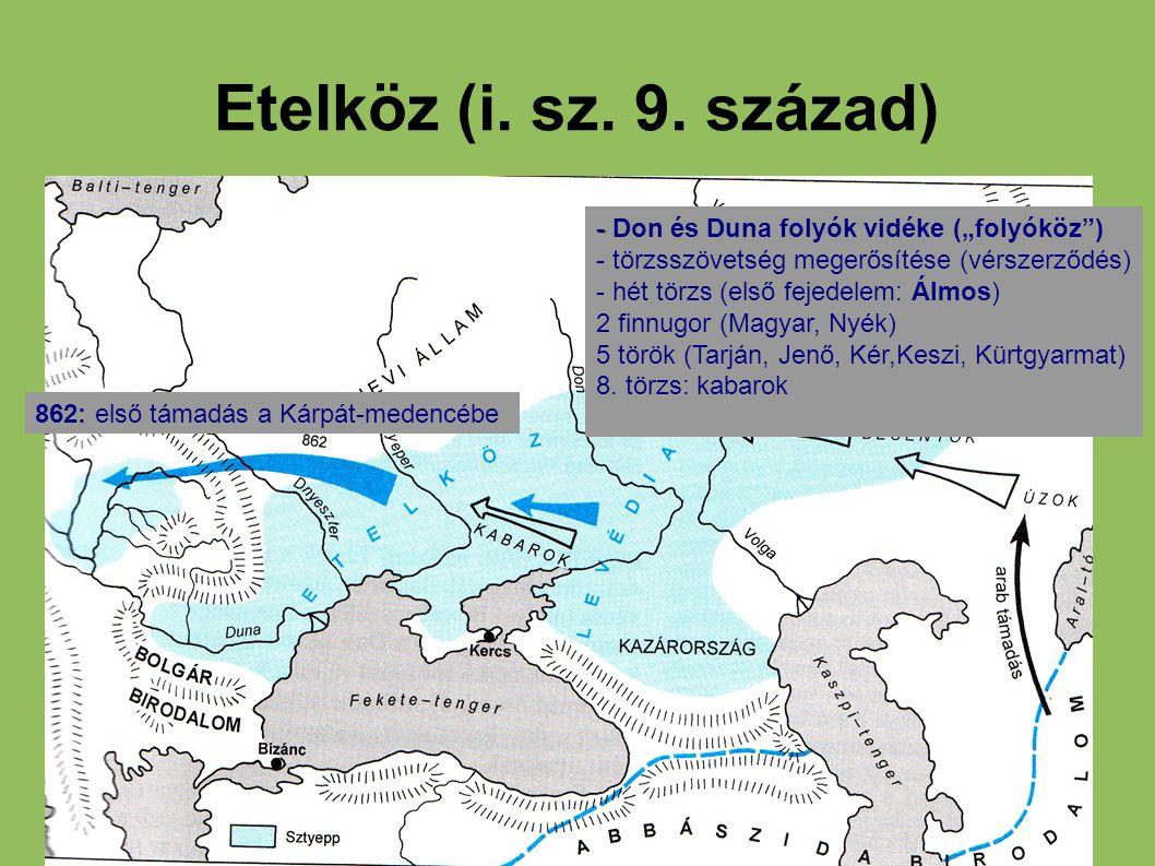 """Etelköz (i. sz. 9. század) - - Don és Duna folyók vidéke (""""folyóköz"""") - törzsszövetség megerősítése (vérszerződés) - hét törzs (első fejedelem: Álmos)"""