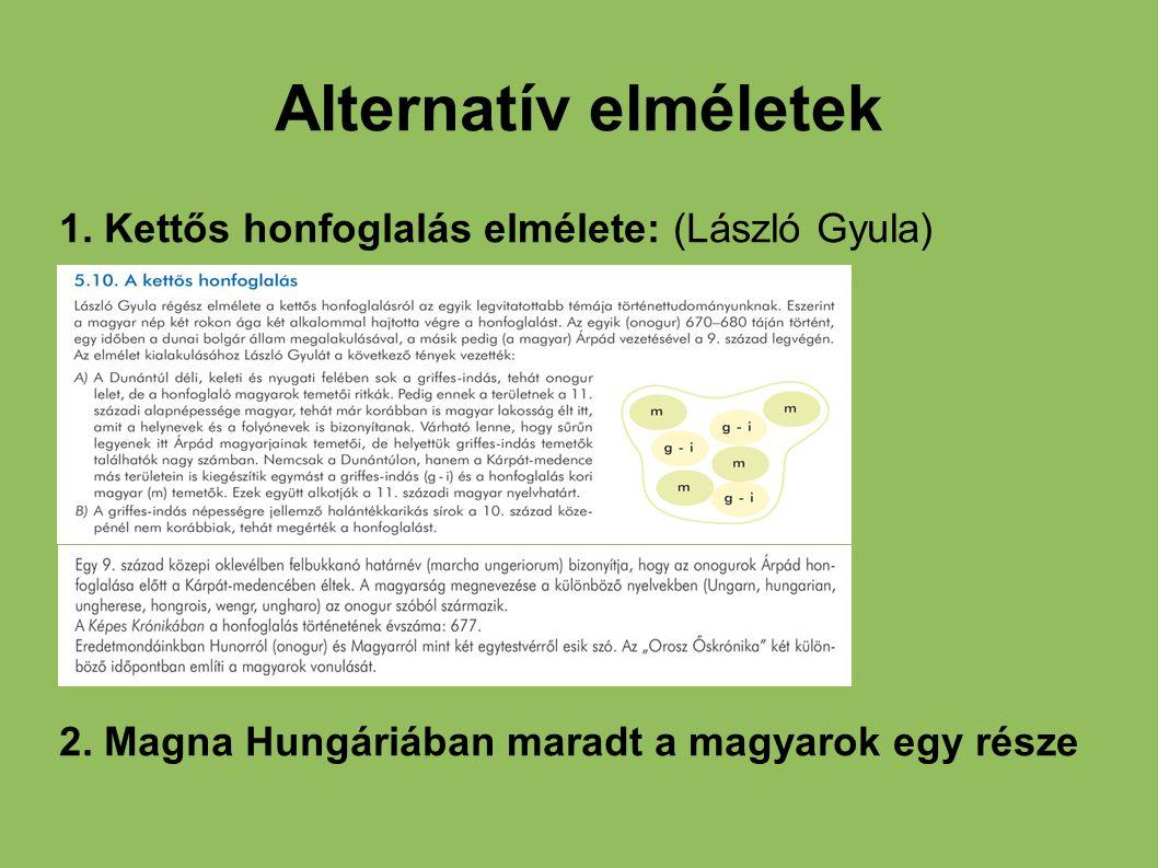 Alternatív elméletek 1. Kettős honfoglalás elmélete: (László Gyula) 2. Magna Hungáriában maradt a magyarok egy része