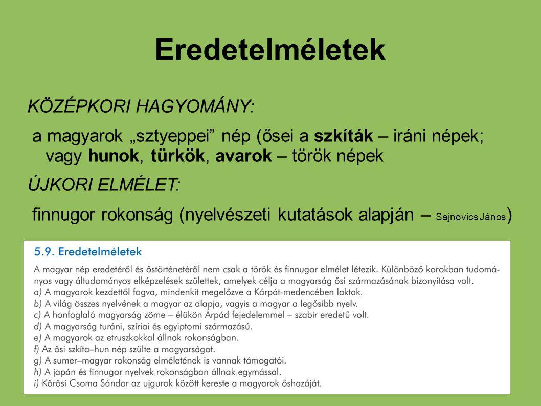 """Eredetelméletek KÖZÉPKORI HAGYOMÁNY: a magyarok """"sztyeppei"""" nép (ősei a szkíták – iráni népek; vagy hunok, türkök, avarok – török népek ÚJKORI ELMÉLET"""