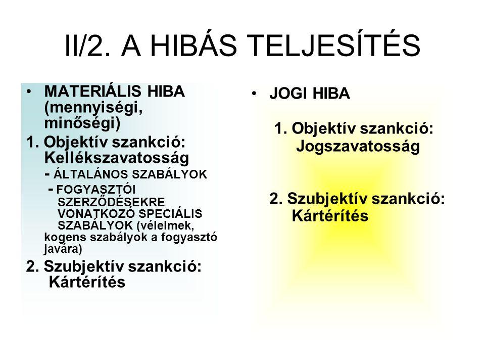 II/2. A HIBÁS TELJESÍTÉS MATERIÁLIS HIBA (mennyiségi, minőségi) 1. Objektív szankció: Kellékszavatosság - ÁLTALÁNOS SZABÁLYOK - FOGYASZTÓI SZERZŐDÉSEK