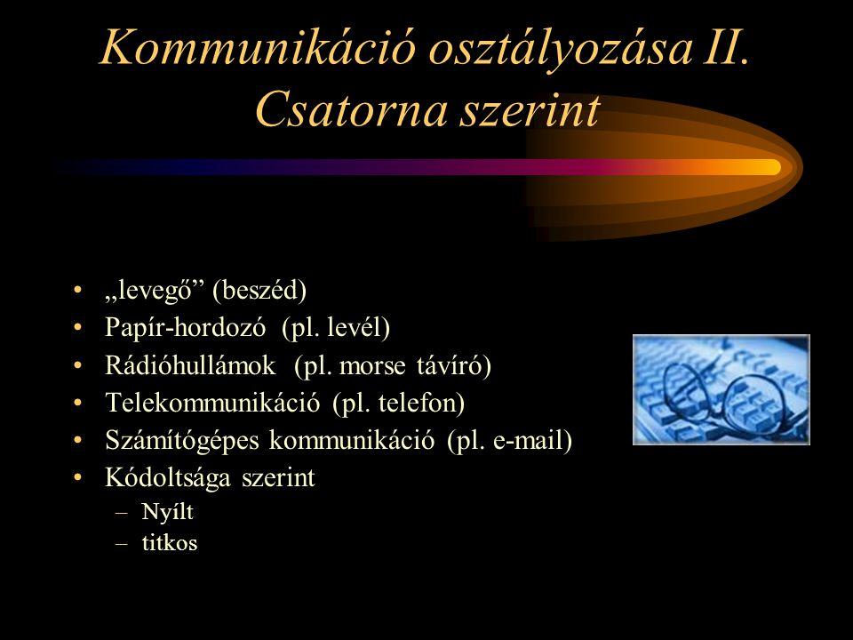 """Kommunikáció osztályozása II. Csatorna szerint """"levegő"""" (beszéd) Papír-hordozó (pl. levél) Rádióhullámok (pl. morse távíró) Telekommunikáció (pl. tele"""