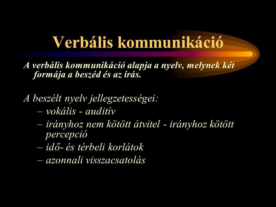 Verbális kommunikáció A verbális kommunikáció alapja a nyelv, melynek két formája a beszéd és az írás. A beszélt nyelv jellegzetességei: –vokális - au
