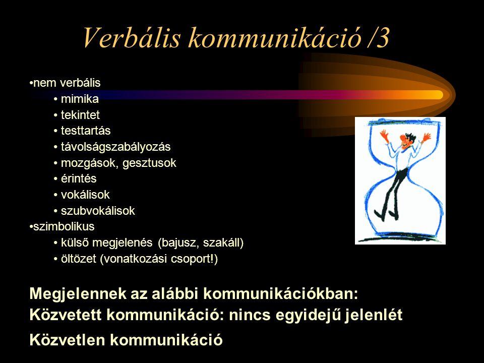 Verbális kommunikáció /3 nem verbális mimika tekintet testtartás távolságszabályozás mozgások, gesztusok érintés vokálisok szubvokálisok szimbolikus k