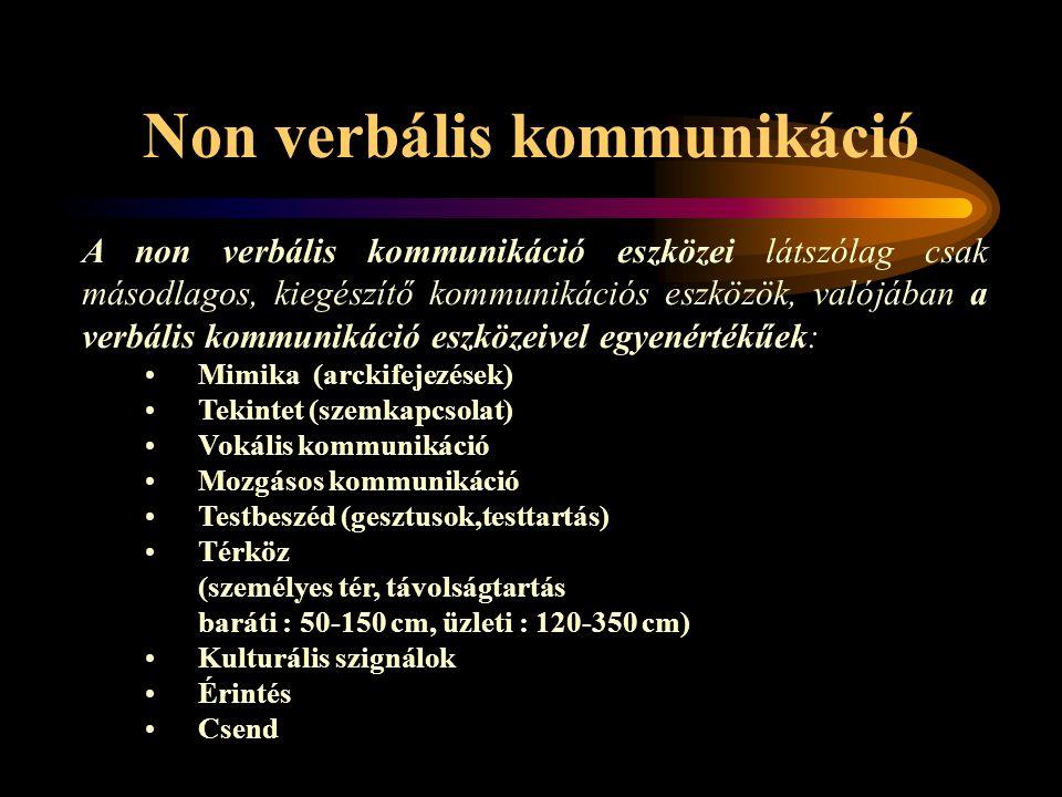 Non verbális kommunikáció A non verbális kommunikáció eszközei látszólag csak másodlagos, kiegészítő kommunikációs eszközök, valójában a verbális komm