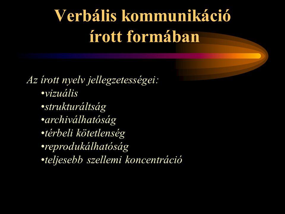 Verbális kommunikáció írott formában Az írott nyelv jellegzetességei: vizuális strukturáltság archiválhatóság térbeli kötetlenség reprodukálhatóság te