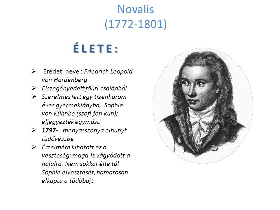 Novalis (1772-1801)  Eredeti neve : Friedrich Leopold von Hardenberg  Elszegényedett főúri családból  Szerelmes lett egy tizenhárom éves gyermeklán