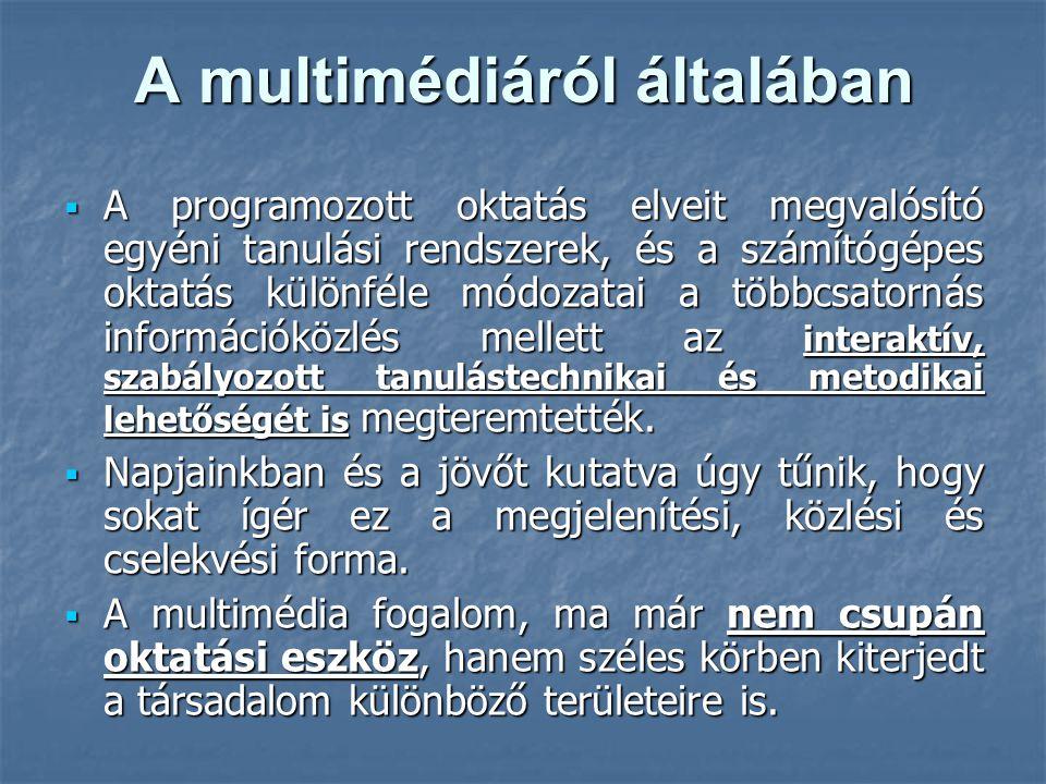 A multimédiáról általában  A programozott oktatás elveit megvalósító egyéni tanulási rendszerek, és a számítógépes oktatás különféle módozatai a többcsatornás információközlés mellett az interaktív, szabályozott tanulástechnikai és metodikai lehetőségét is megteremtették.