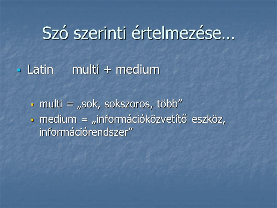 """Szó szerinti értelmezése…  Latin multi + medium  multi = """"sok, sokszoros, több  medium = """"információközvetítő eszköz, információrendszer"""