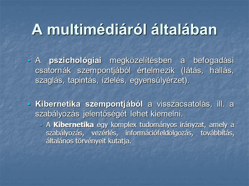 A multimédiáról általában  A pszichológiai megközelítésben a befogadási csatornák szempontjából értelmezik (látás, hallás, szaglás, tapintás, ízlelés, egyensúlyérzet).