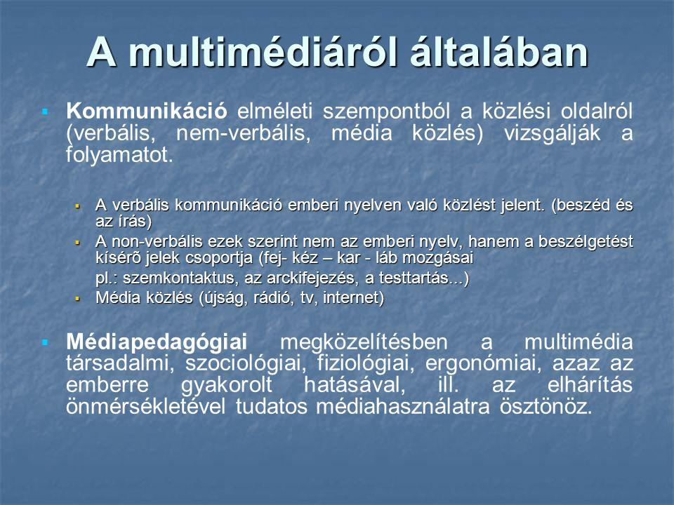 A multimédiáról általában   Kommunikáció elméleti szempontból a közlési oldalról (verbális, nem-verbális, média közlés) vizsgálják a folyamatot.  A