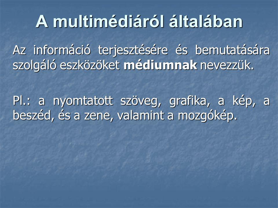 A multimédiáról általában Az információ terjesztésére és bemutatására szolgáló eszközöket médiumnak nevezzük. Pl.: a nyomtatott szöveg, grafika, a kép