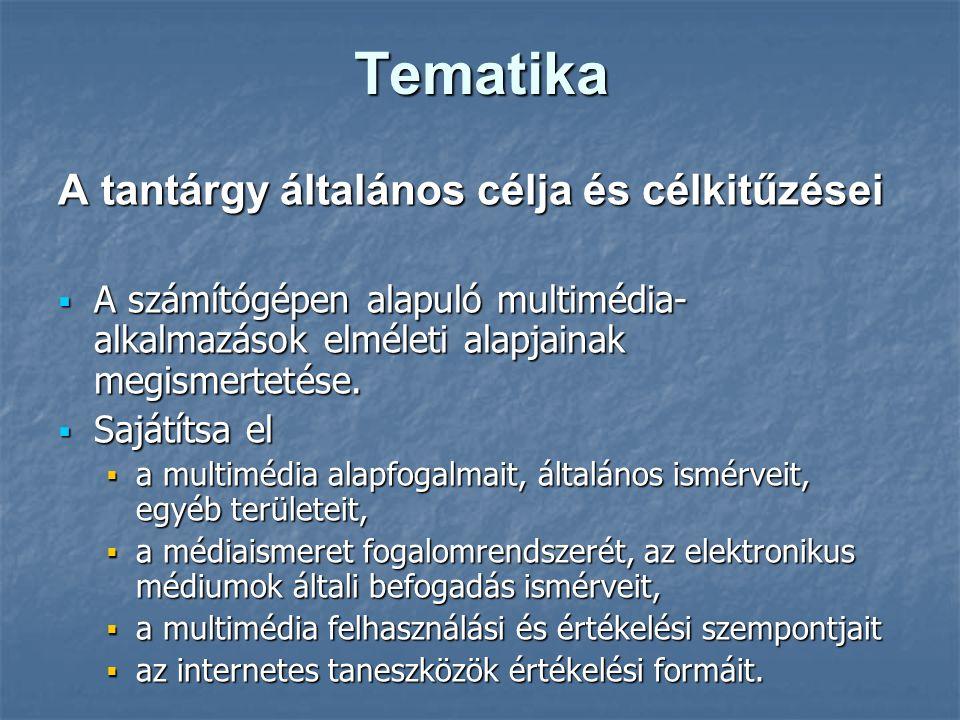 Tematika A tantárgy általános célja és célkitűzései  A számítógépen alapuló multimédia- alkalmazások elméleti alapjainak megismertetése.