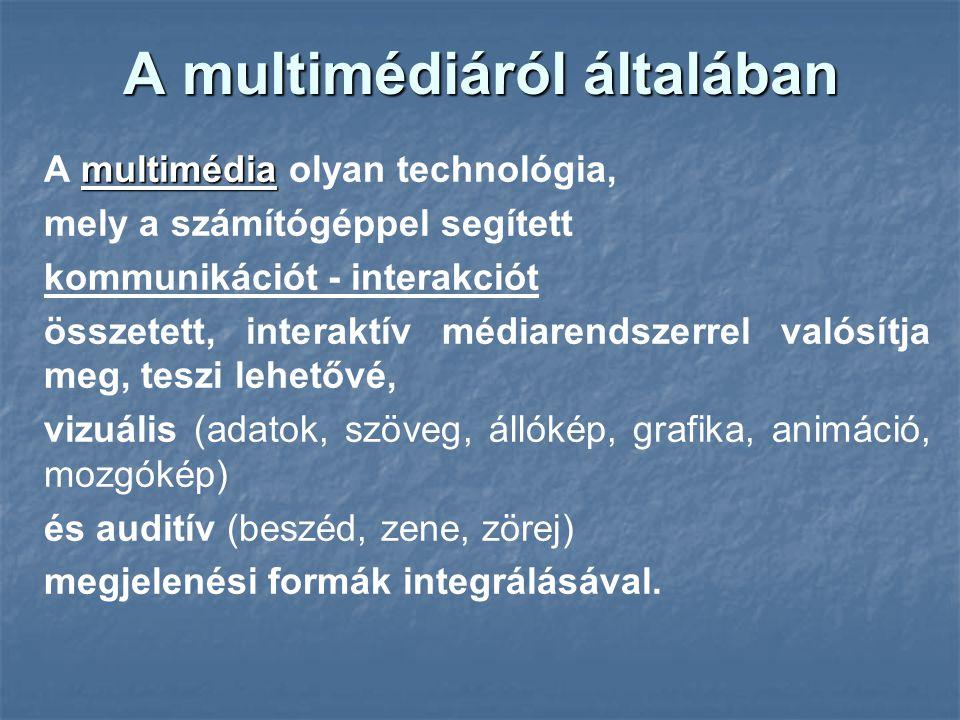 A multimédiáról általában multimédia A multimédia olyan technológia, mely a számítógéppel segített kommunikációt - interakciót összetett, interaktív médiarendszerrel valósítja meg, teszi lehetővé, vizuális (adatok, szöveg, állókép, grafika, animáció, mozgókép) és auditív (beszéd, zene, zörej) megjelenési formák integrálásával.