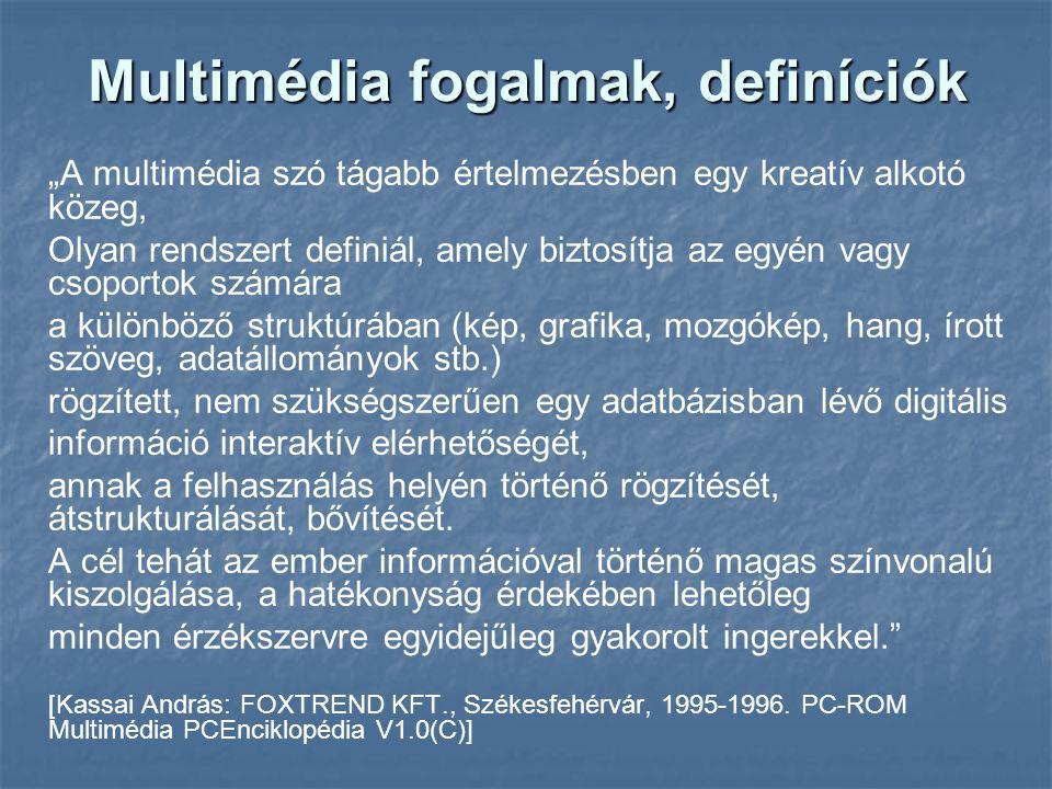 """Multimédia fogalmak, definíciók """"A multimédia szó tágabb értelmezésben egy kreatív alkotó közeg, Olyan rendszert definiál, amely biztosítja az egyén v"""